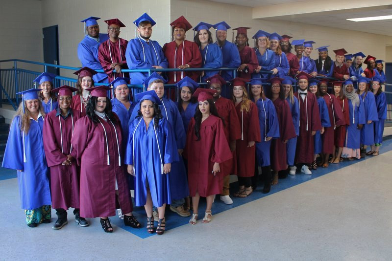 Some of the 120 members of the Class of 2019 at Lexington Two's adult education center pose after the May 28 ceremony.
