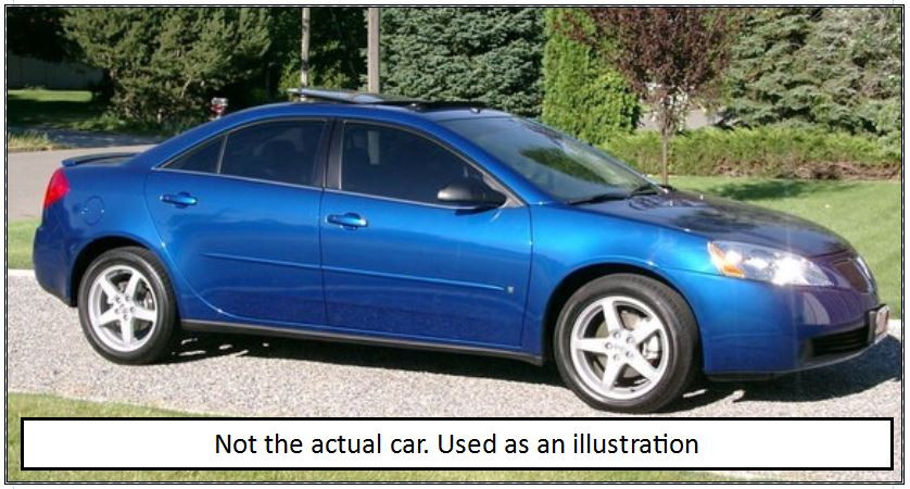 Pontiac G-6 (not the actual car but used for comparison)