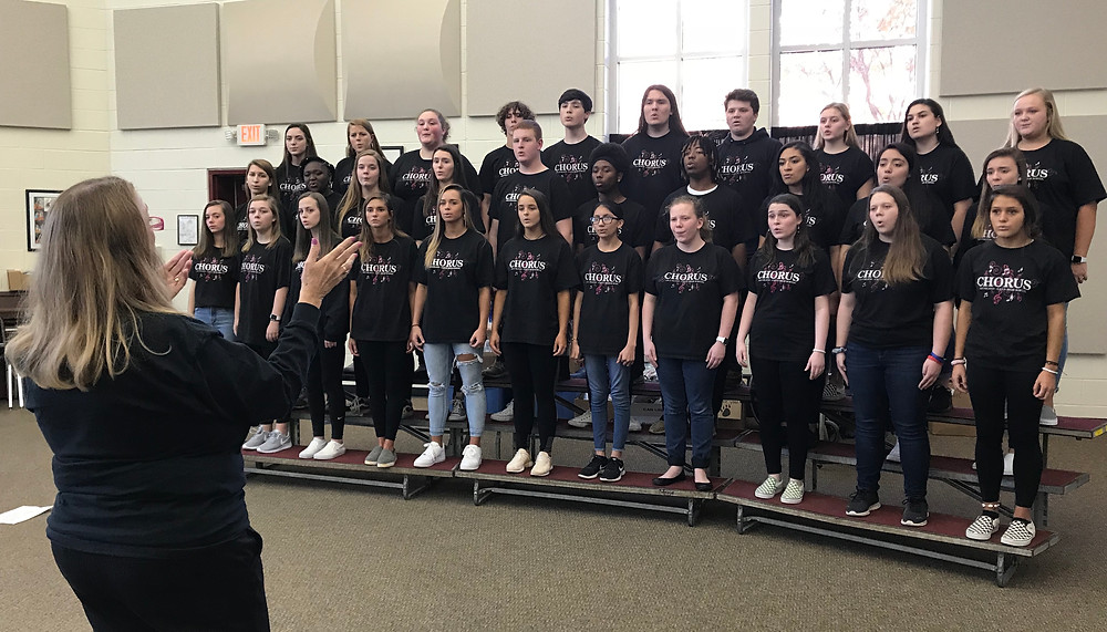 Brookland-Cayce High choral director Wendi Humphries leads students in rehearsal Monday, November 25, in advance of their trip to perform at an Epcot holiday festival at Walt Disney World.