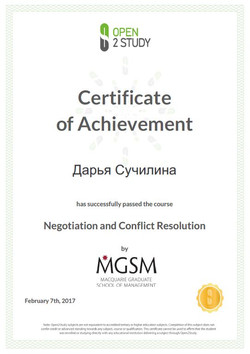 Negotiations and Conflict Resolution