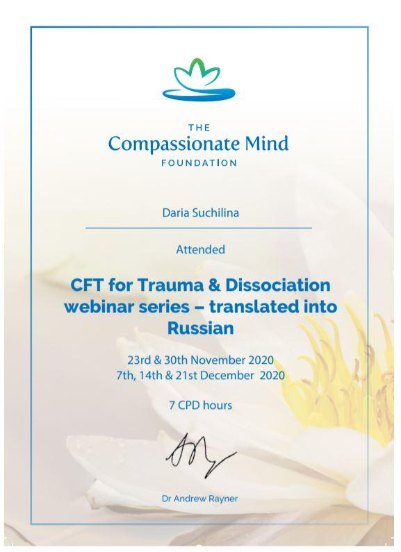 сертификат CFT диссоциации