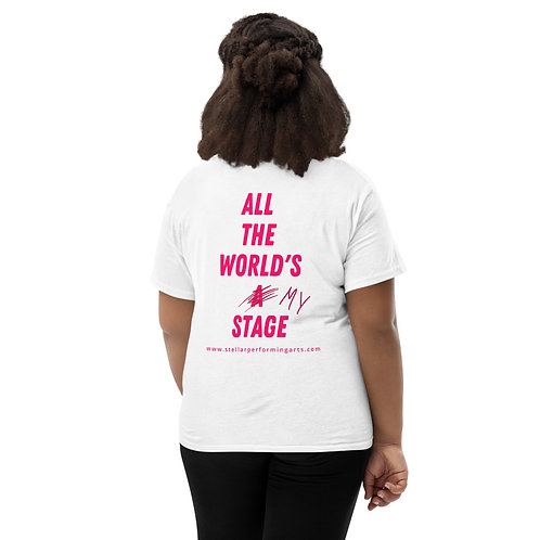 All The World's My Stage Youth T-Shirt - Neon Pink