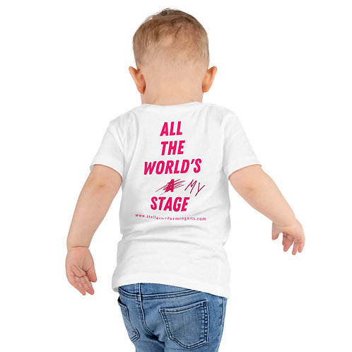 All The World's My Stage Kids T-Shirt - Neon Pink copy