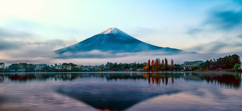 Mt Fuji in the early morning with reflec