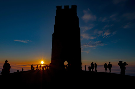 Glastonbury Tor Mists, Silhouettes and Sunset
