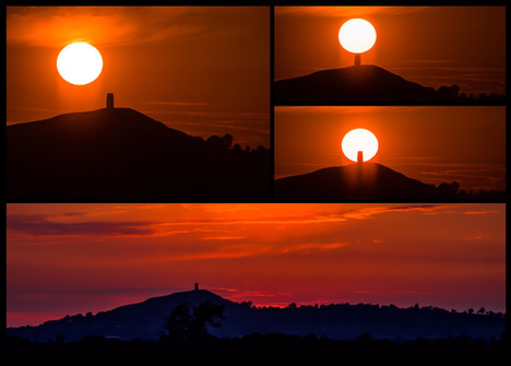 Sunsetting at Glastonbury Tor