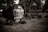 Sepia toned Wagons and Travellers