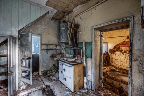 Abandoned lodge kitchen