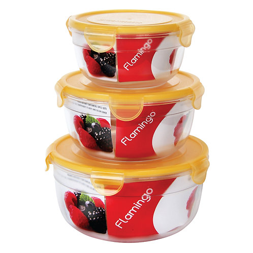 FLAMINGO 3 IN ONE ROUND AIRTIGHT CONTAINERS