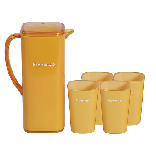 FLAMINGO WATER JUG WITH 4 CUPS