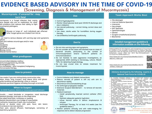 Evidence Based Advisory in the time of Covid-19 (Screening, Diagnosis & Management of Mucormycosis)