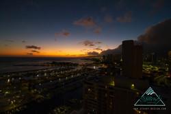 WAKIKI BEACH AT SUNSET