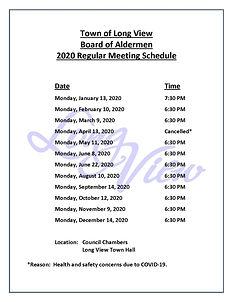 2020 Board of Aldermen Meeting Schedule