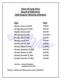 2020 Board of Aldermen Meeting Schedule