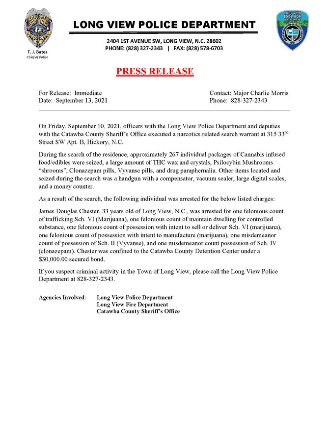 Police Department Press Releases (Updated 9/13/2021)