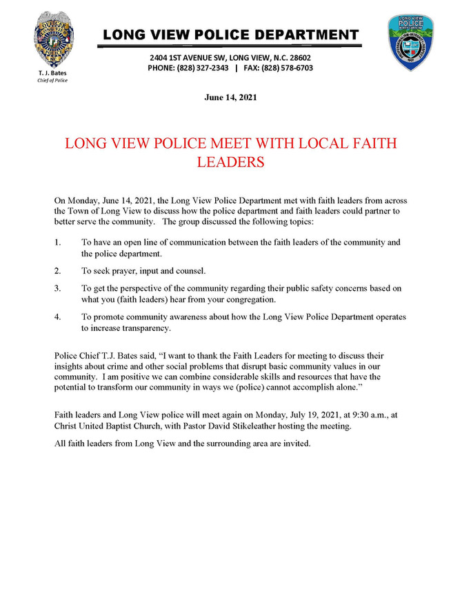 Long View Police Meet with Local Faith Leaders