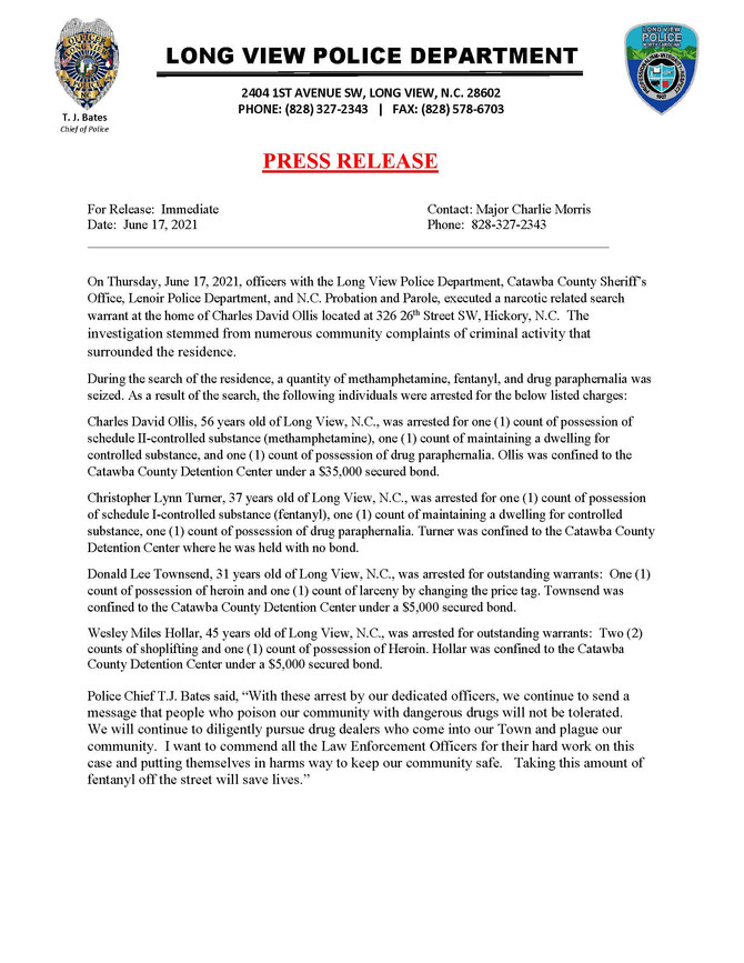 Police Department Press Releases (Updated 6/17/2021)