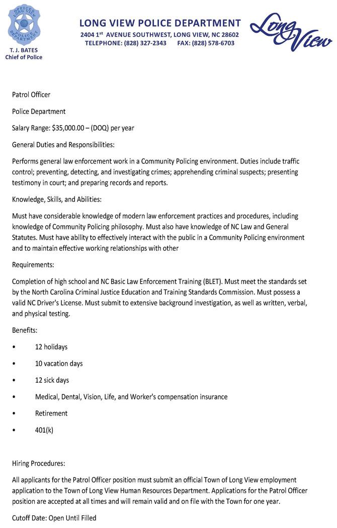 Job Opportunity - Patrol Officer