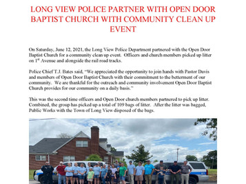 Long View Police Partner with Open Door Baptist Church with Community Clean Up Event