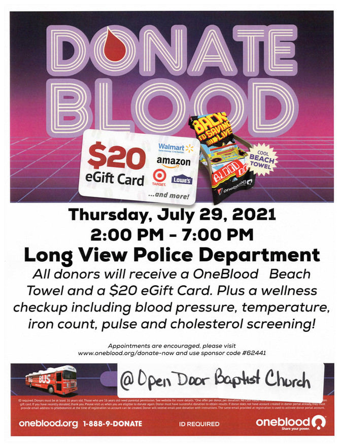 Blood Donation Event on July 29, 2021