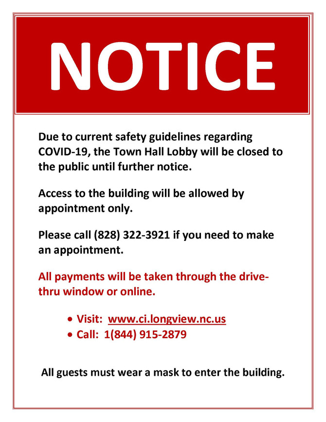 Town Hall Lobby Closed to the Public Until Further Notice