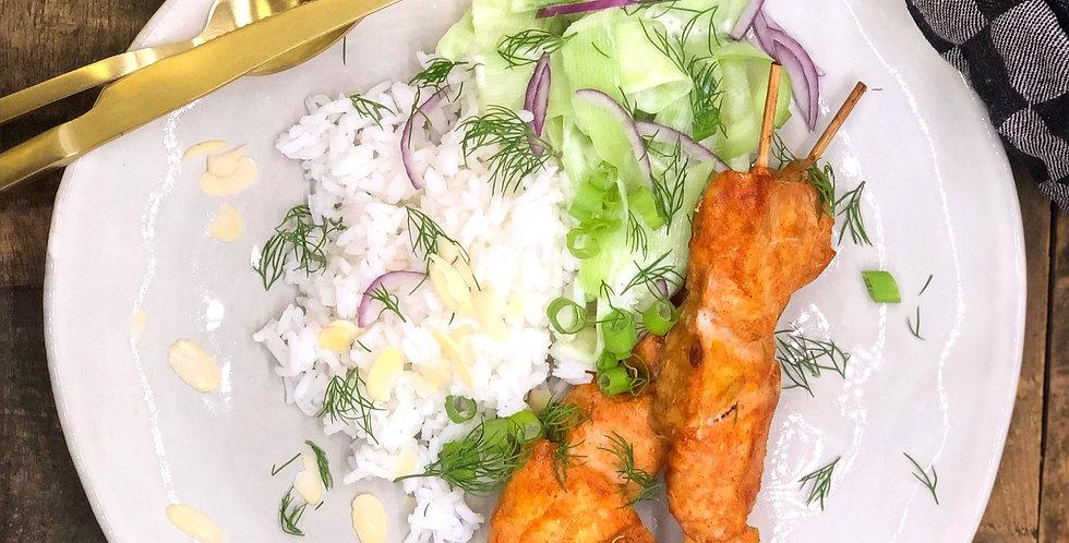 Chicken kebab met komkommer yoghurt