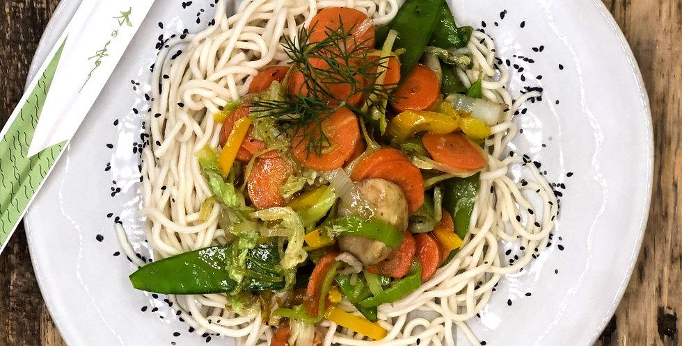 Verse Noodles met groenten & kip tandoori