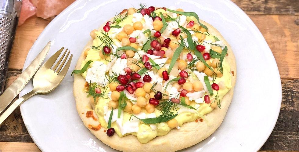 Baba hummus, curry, bloemkool & geitenkaas