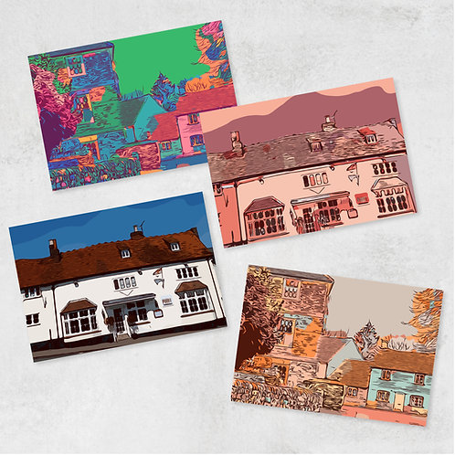 Pack of 4 Chilterns Cottages greetings cards