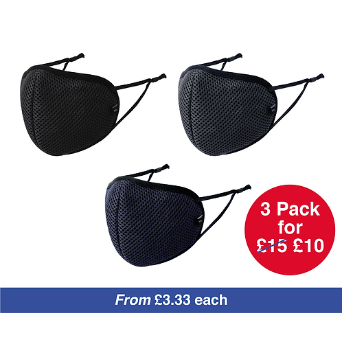 Reusable Face Mask Coverings - Pack of 3