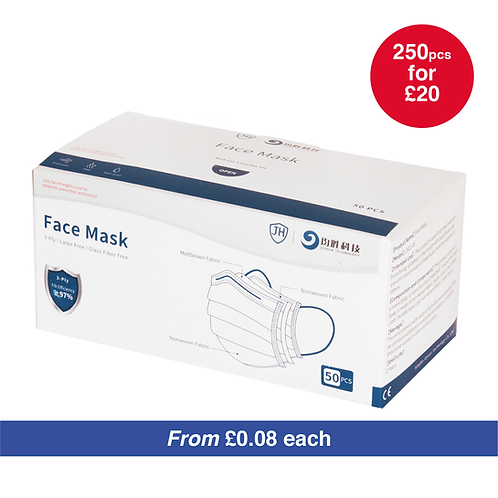 3-Ply Disposable Face Mask - BULK ORDER - 250PCS