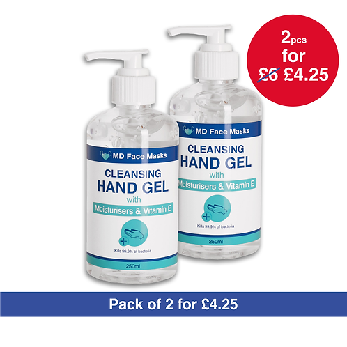 Cleansing Hand Sanitiser Gel - 75% Alcohol - 2x 250ML Pump Bottles