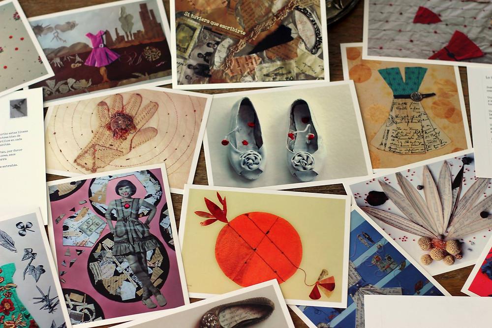 """Ilustración de """"Si tuviera que escribirte"""" postales con collages y poemas de amor"""