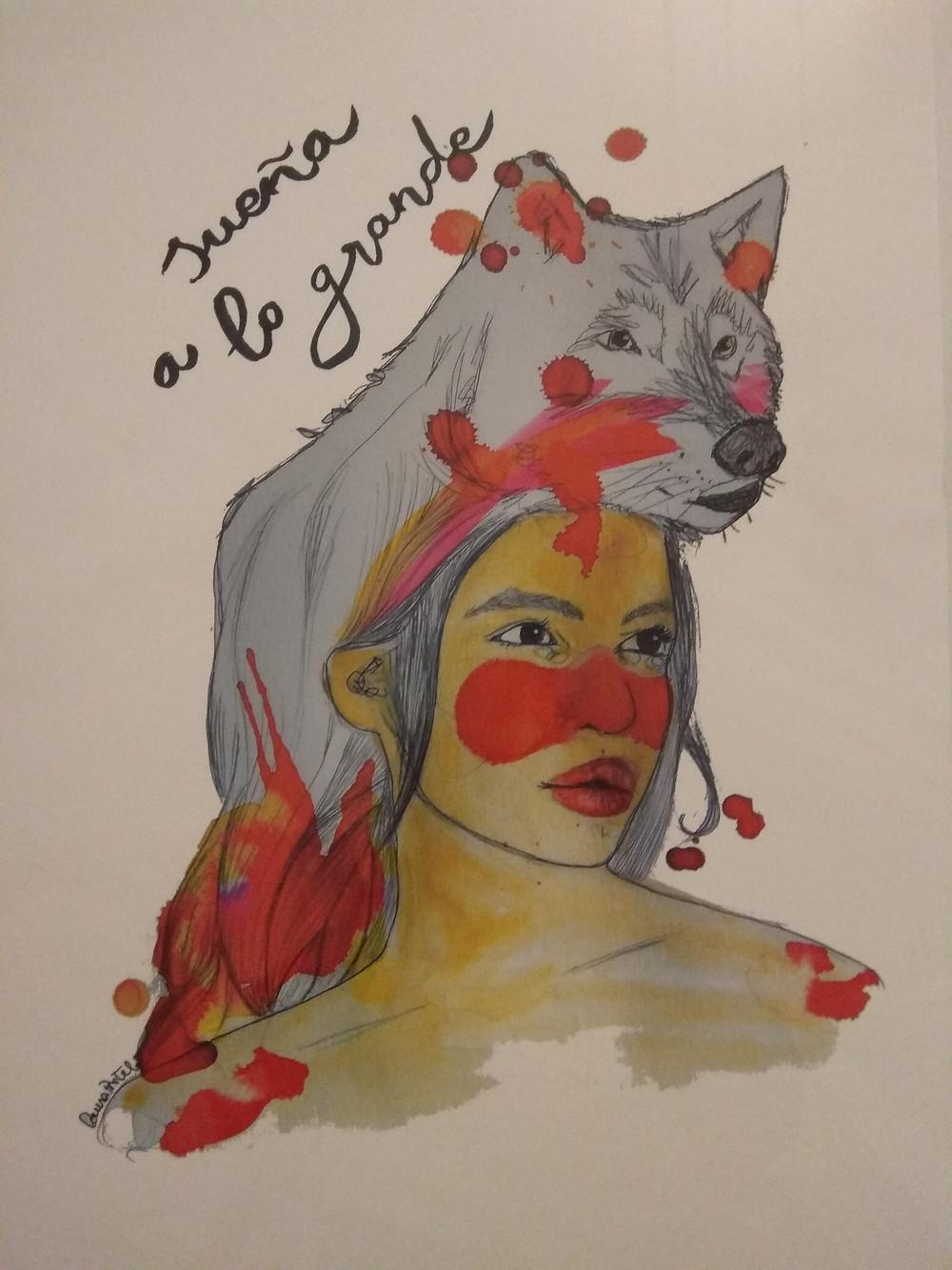 Ilustración de la mujer lobo de aura Pretel