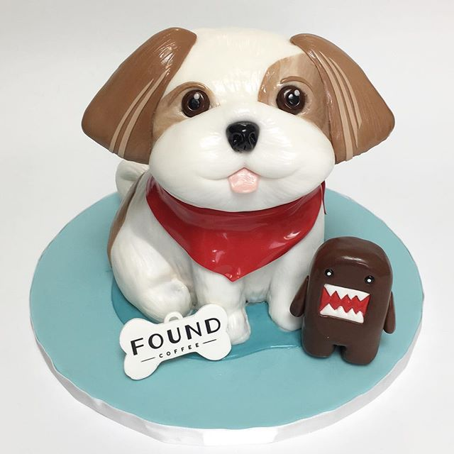 Dog 3D sculpted cake