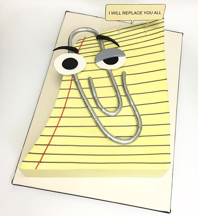 Microsoft Clippy Semi-sculpted cake