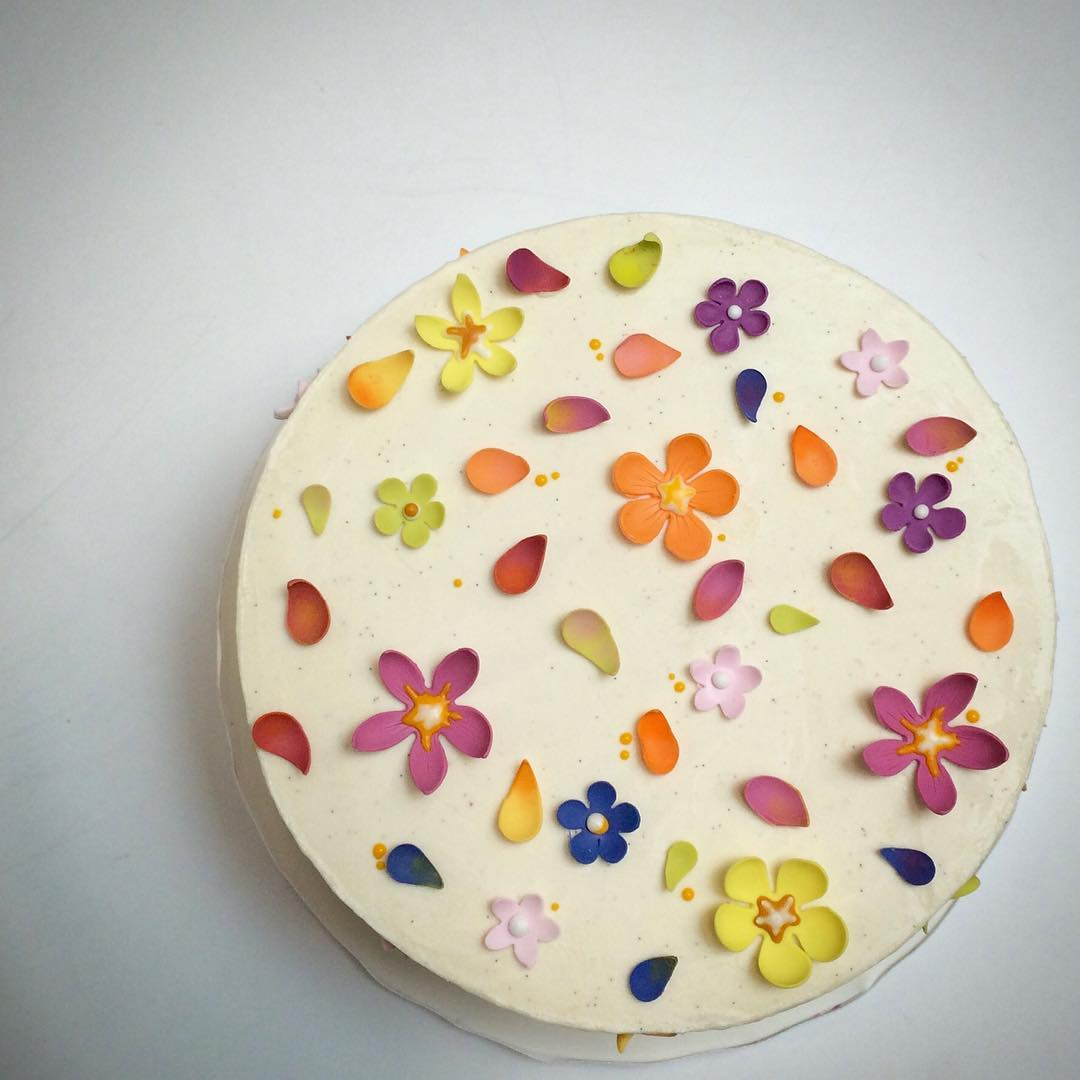 Tiny Colorful Sugar Flowers Cake