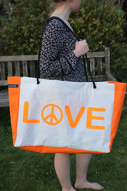 Limited Edition Large Beach Bag - Love in Orange