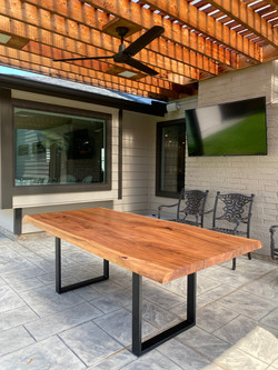 Custom Outdoor Elm and Steel Dining Table