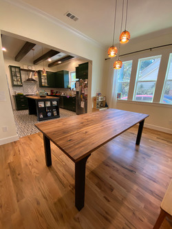 Sweet Gum and Blackened Oak Dining Table with Leaf