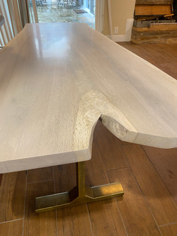 Bleached Live Edge Oak Desk with Brass Legs