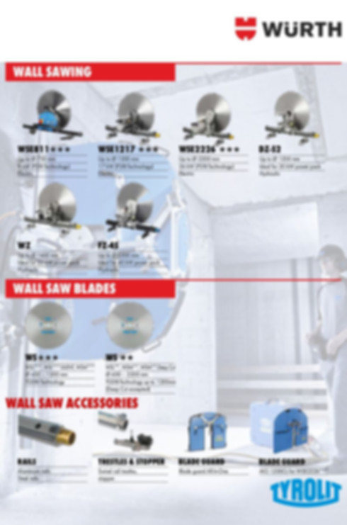 Wall Saws, Blades & Accessories