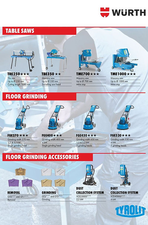 Table Saws & Floor Grinders