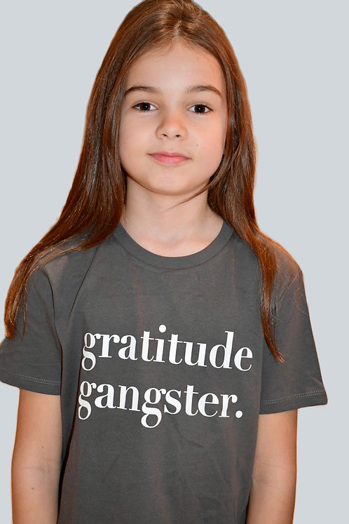 Children's Unisex Round Neck Gratitude Gangster Slogan T-Shirt