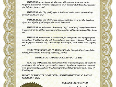 Olympia City Council Honors Immigrant and Refugee Rights Advocacy Day