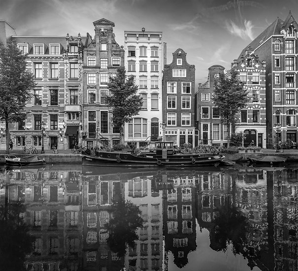 Herengracht-A Canal View- Amsterdam- Black and White photo by Kaan Sensoy