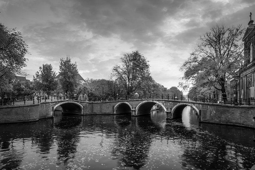 Seven Bridges Amsterdam Panorama B&W photo by Kaan Sensoy