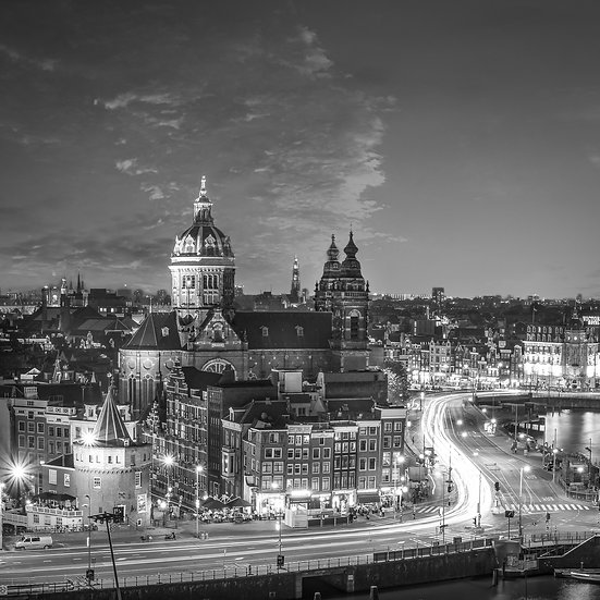 Amsterdam City at Night-Black and White photo by Kaan Sensoy
