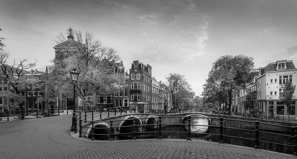 Autumn in Seven Bridges, Amsterdam- Black and White photo by Kaan Sensoy