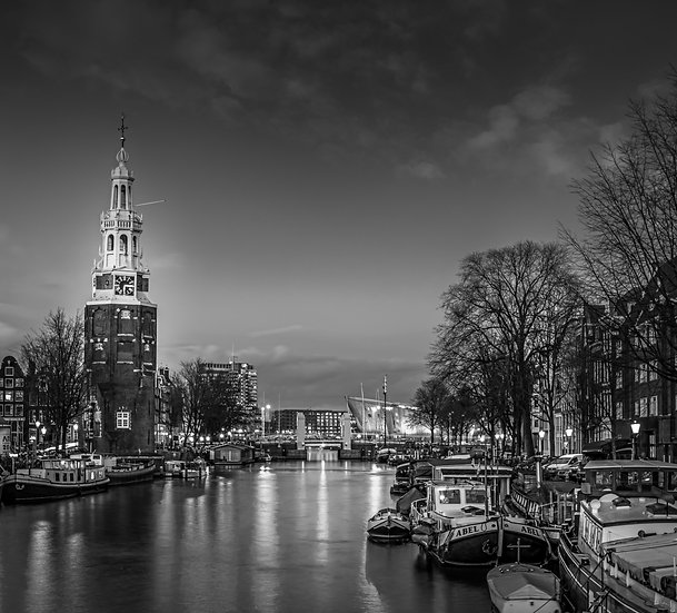 The Montelbaanstoren- A tower on  Oudeschans, Amsterdam - Black and White photo by Kaan Sensoy